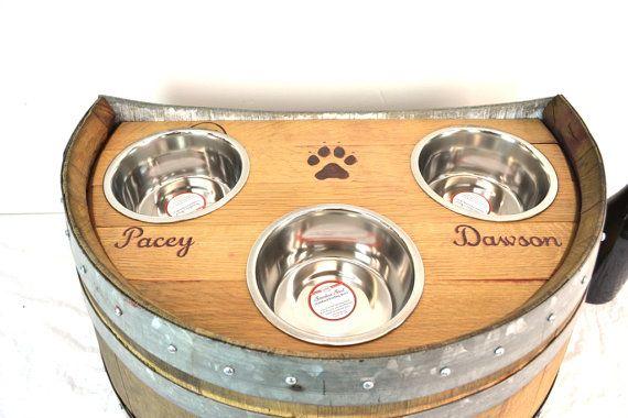 Wine Barrel Elevated Dog Feeder Dog feeder Pet feeder Dog dish Food bowl Pet bowlBarrel Art