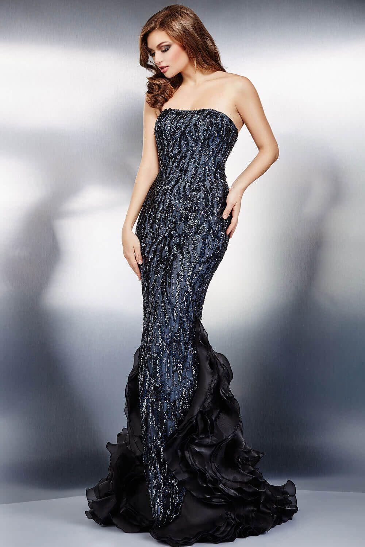 Black strapless dress evening dresses mother of the bride