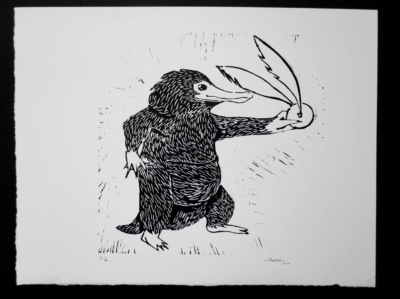 Printmaking Linocut Golden Snitch Thief Niffleur Fantastic
