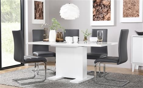 Osaka White High Gloss Extending Dining Table And 4 Chairs Set Cool High Gloss Dining Room Furniture Design Ideas