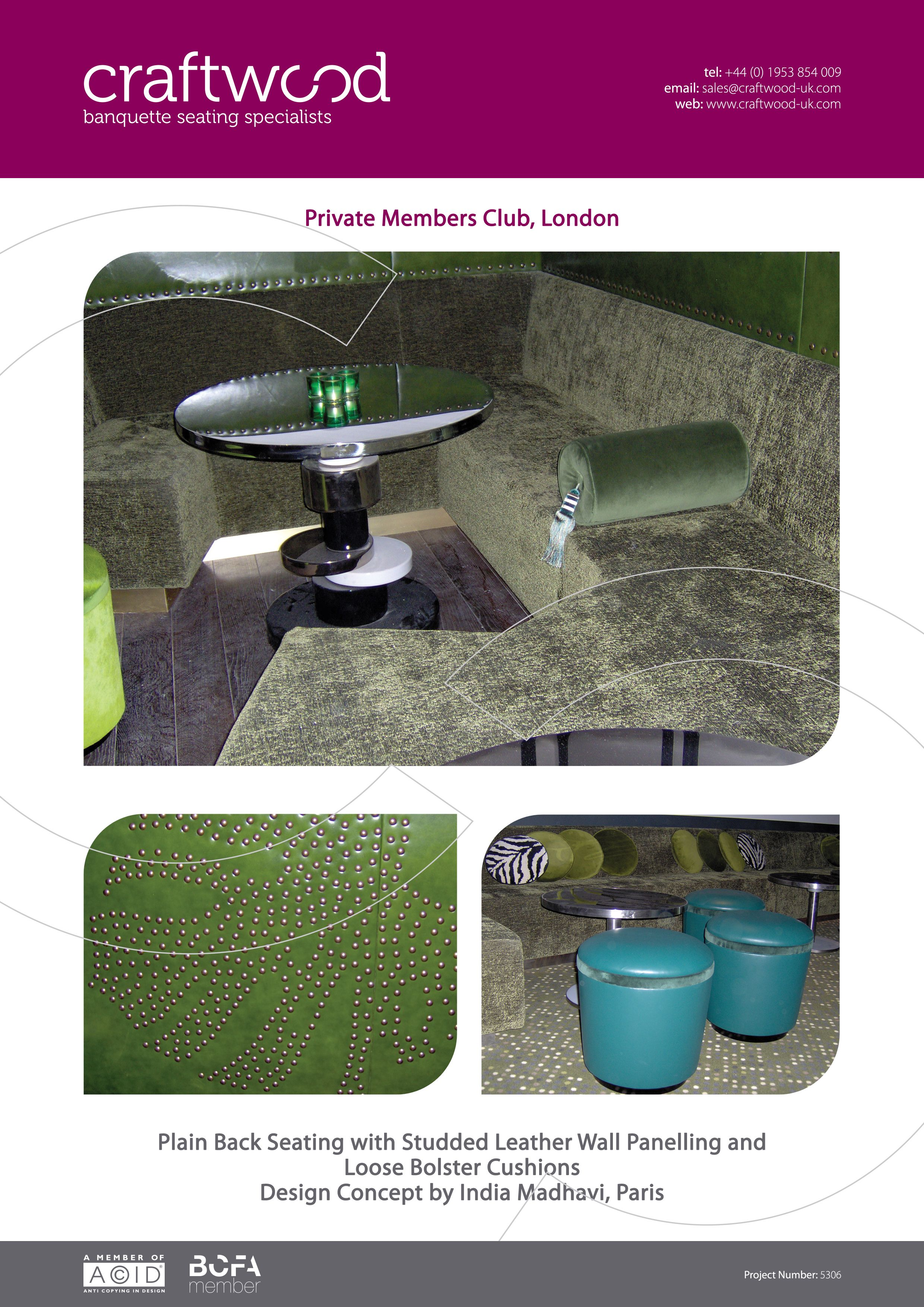#plainback #bespoke #banquette #green #leather #wallpanel #studded #bolster #cushions #london #private #club #craftwood