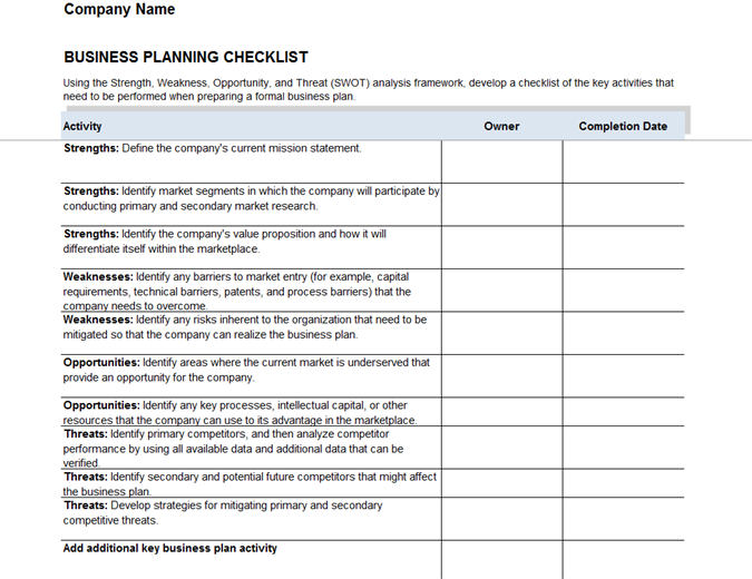 business plan checklist template