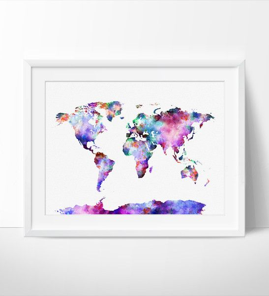 World map art print world map poster large watercolor world map world map art print world map poster large watercolor world map art gumiabroncs Images