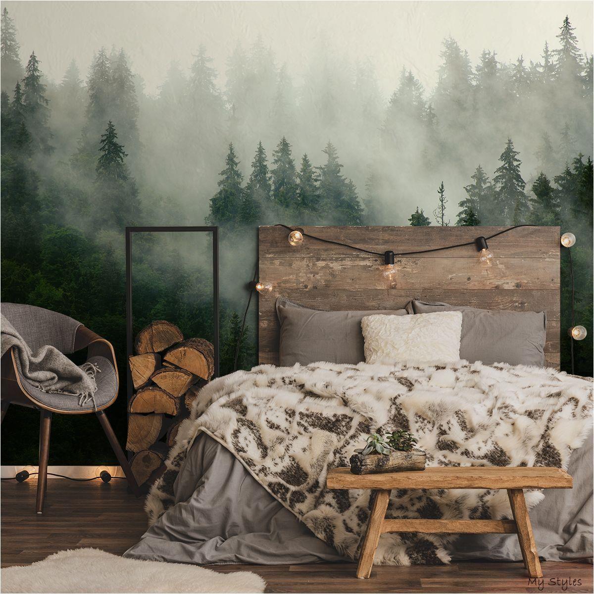 лес на стене рисунок