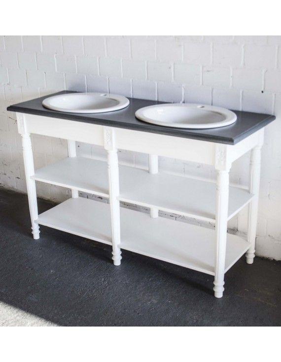 Waschtisch Weiß Im Landhausstil, Doppelwaschtisch, Badmöbel Weiß, Breite  150 Cm
