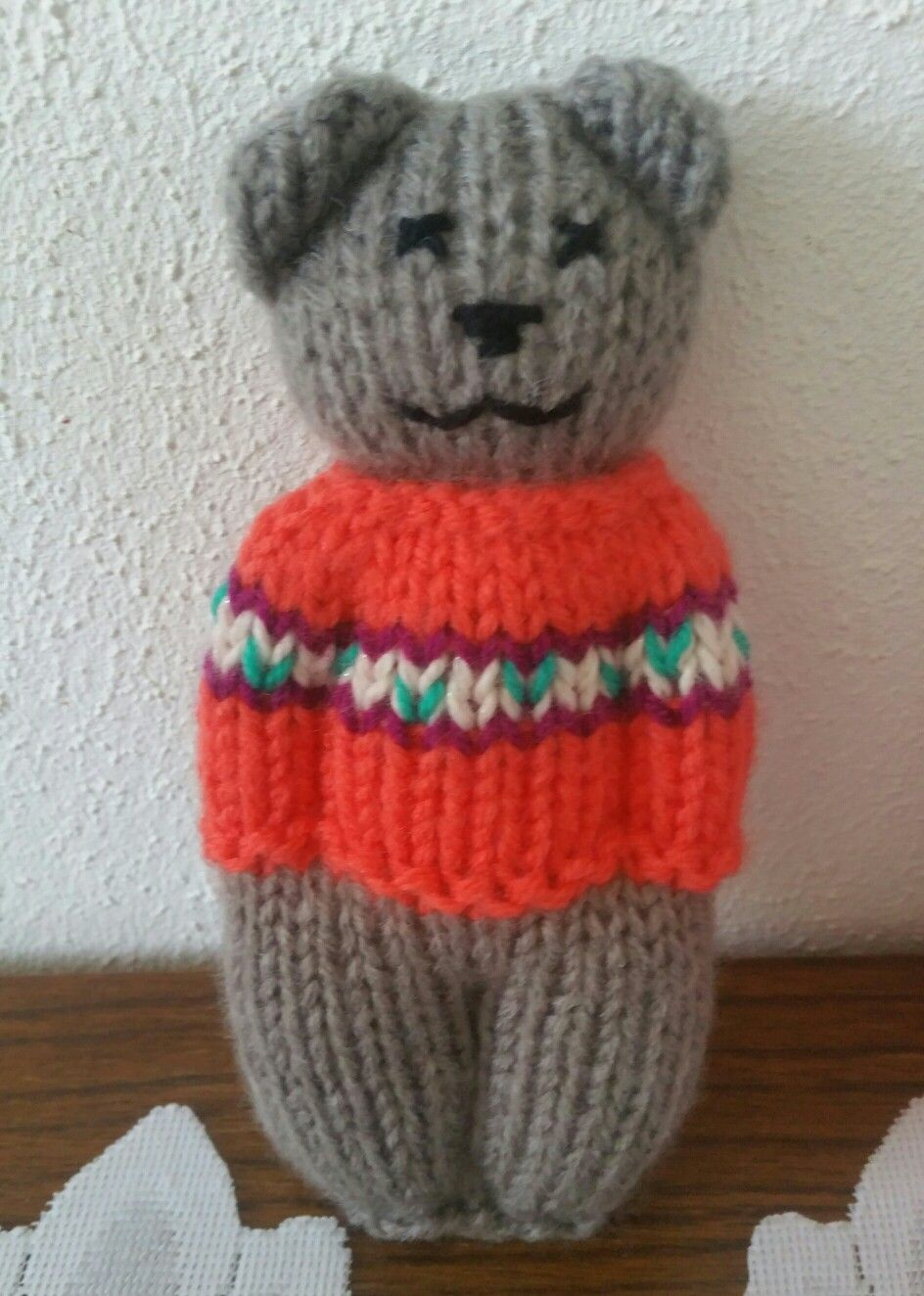 Cute lil knitted teddy bear in a sweater. #teddybear