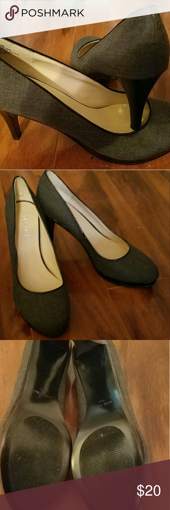 Nine West gray heels Nearly New!! Only worn twice! 3 inch heels.   Make a bundle,  make an offer...everything is negotiable!  Happy Poshing!! Nine West Shoes Heels