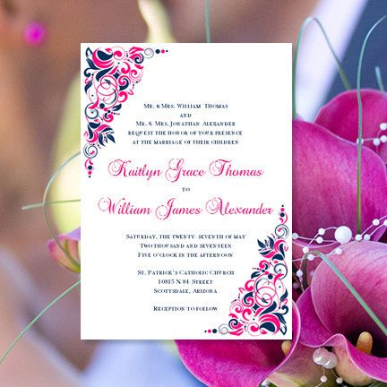 Printable Wedding Invitations Gianna Hot Fuchsia Pink Navy Blue Invitation Templates Make Your O