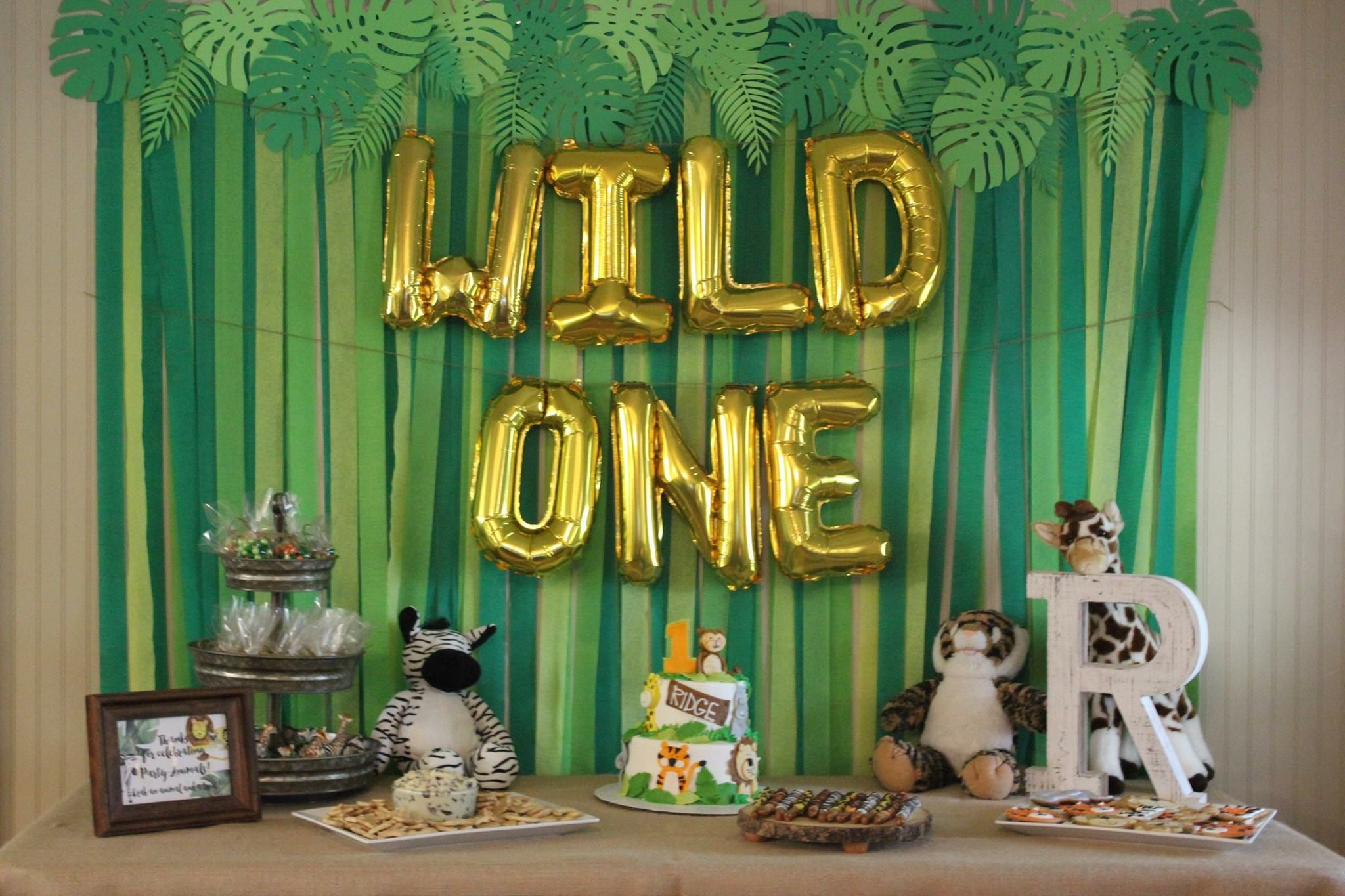 Wild One Jungle Theme 1st Birthday Party Paper Monstera Leaves