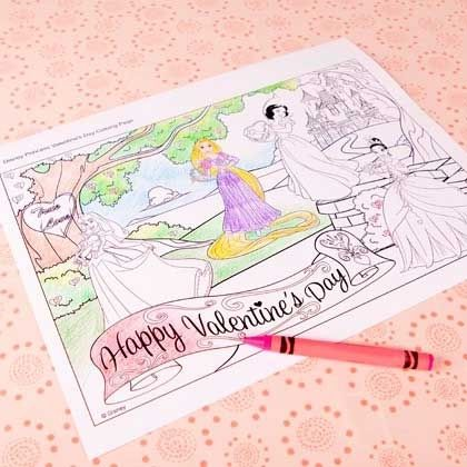 Disney Princess Valentine S Day Coloring Page Disney Family Valentines Day Coloring Page Princess Valentines Disney Princess Coloring Pages