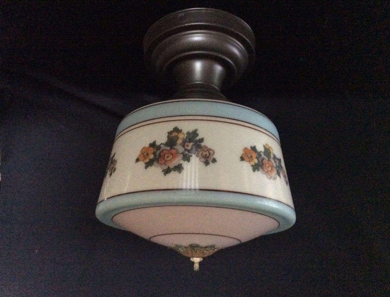 Vintage Ceiling Bedroom Kitchen Light Fixture Blue Pale Pink