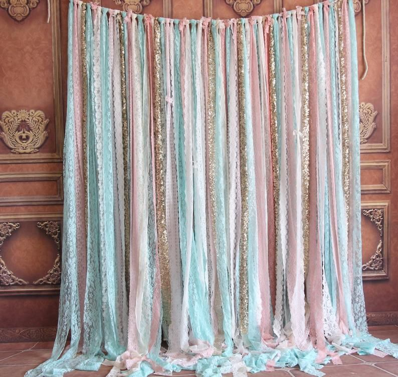 Mint Lace Fabric Pink Sparkle Sequin Photo Booth Photobooth Backdrop Wedding Ceremony Stage Birthday Party Curtain Backdrop Garland Decor In 2020 Garland Decor Photo Booth Backdrop Wedding Backdrops