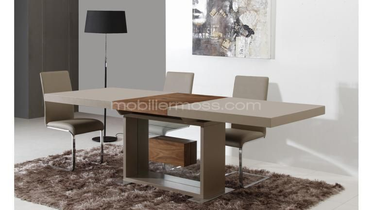 Friendly table salle a manger laquee installation rallonges ouverte mobilier - Table a manger taupe ...