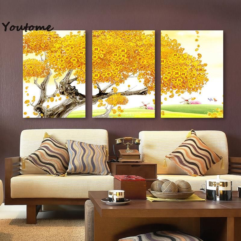 3 Piece Modern Printed Multi Combination Tree Painting Picture ...