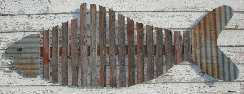Large Fish Skeleton Reclaimed Wall Art Barnwood 85 00