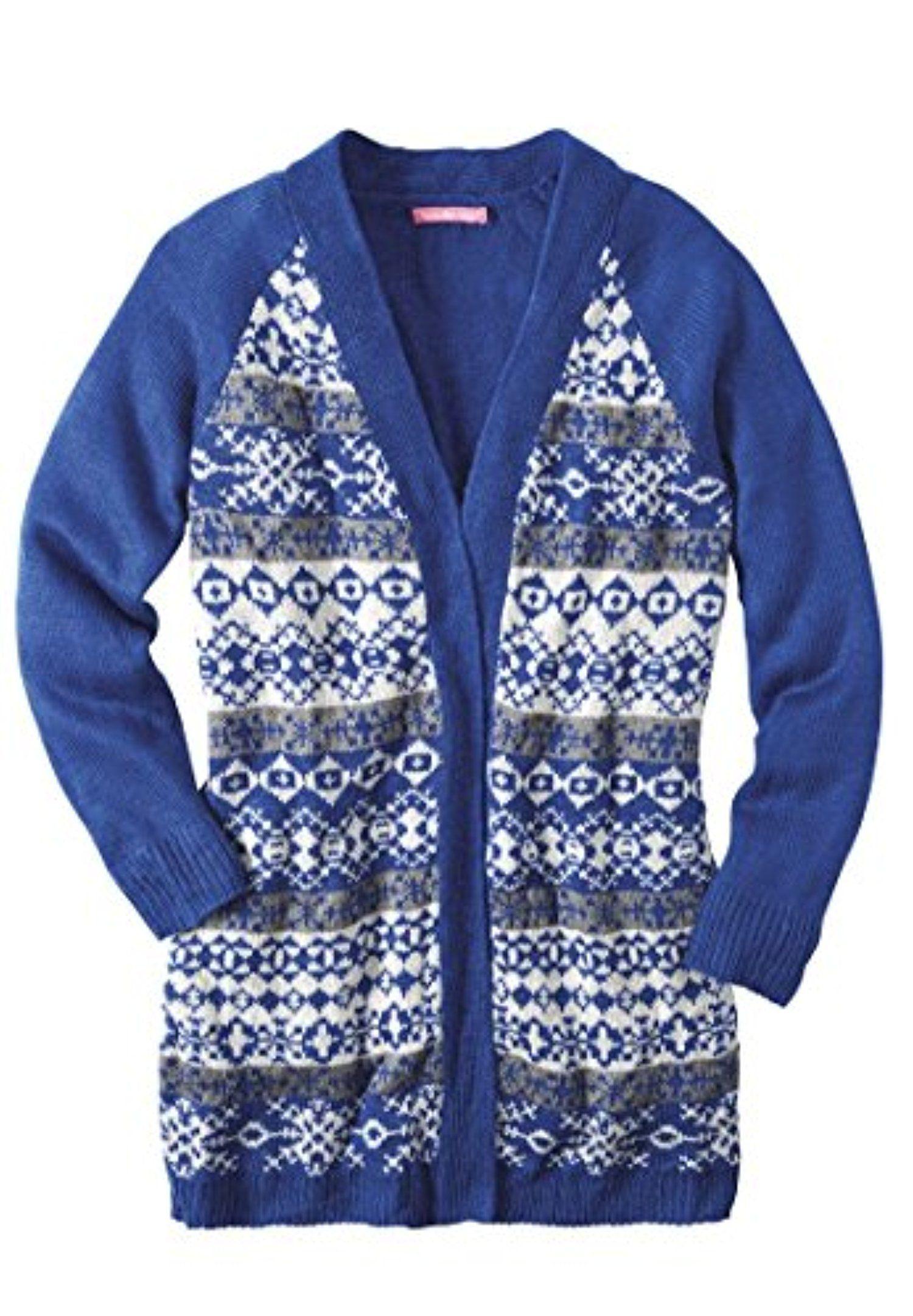 Women's Plus Size Fair Isle Cardigan Sweater Dark Sapphire Fair ...