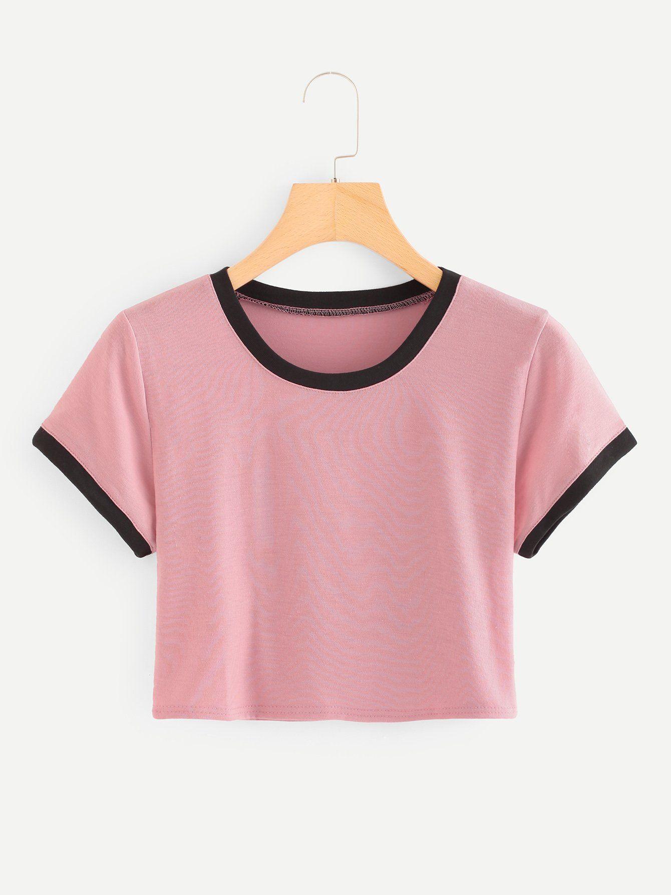 534572d36ea83 Striped Ringer Crop TeeFor Women-romwe. Striped Ringer Crop TeeFor Women-romwe  Belly Shirts