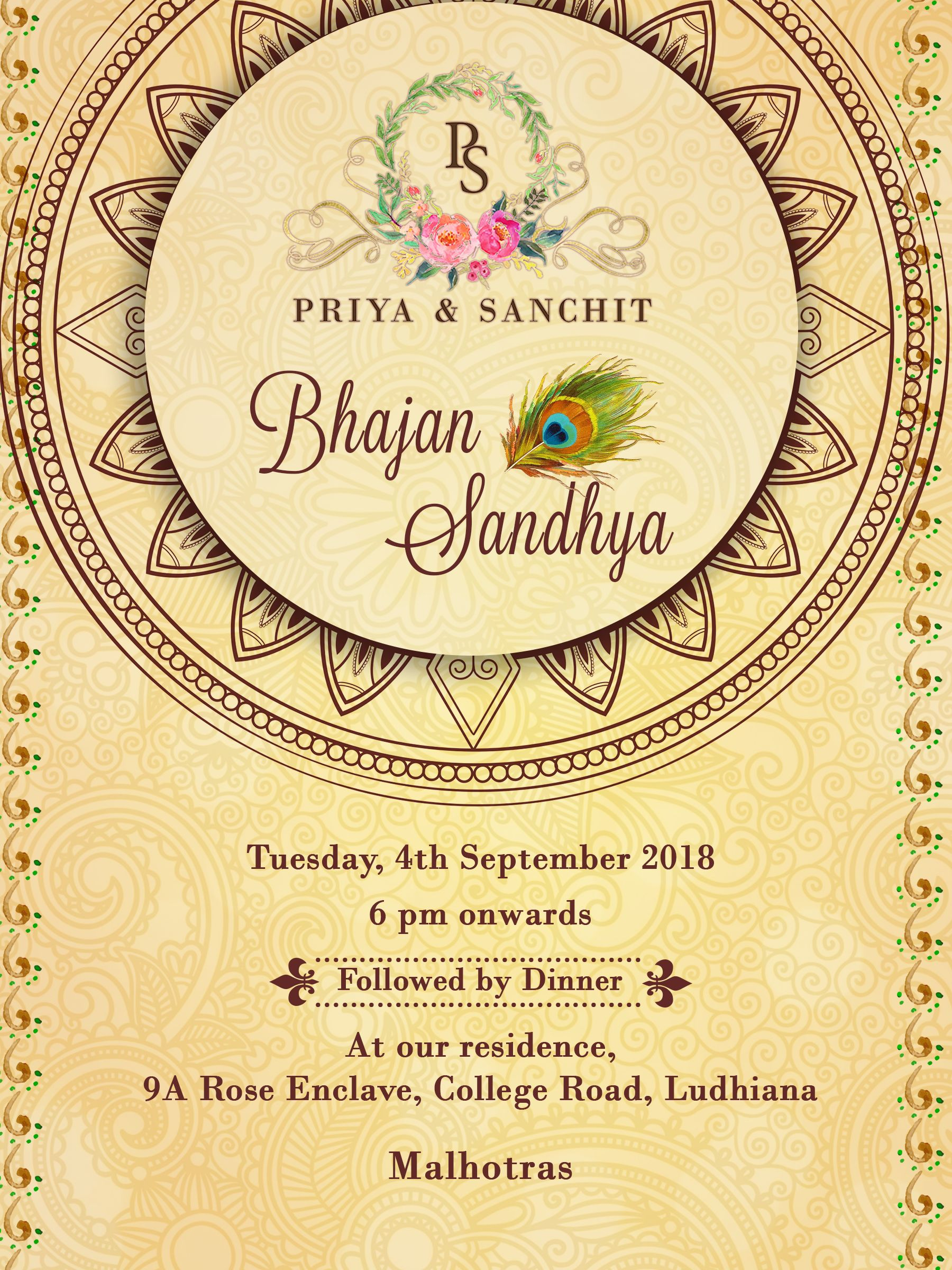 Bhajan Invite Digital Invites Invitation Cards Wedding Invite Simple Wedding Cards Creative Invitations Indian Wedding Cards