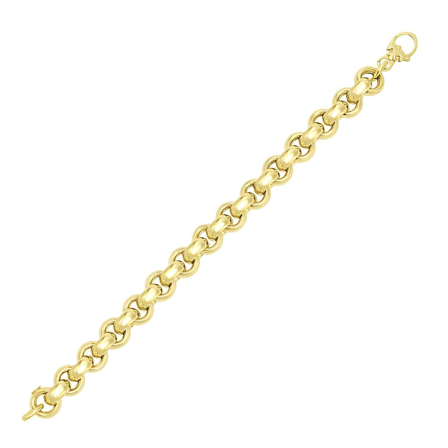 K yellow gold thick smooth rolo style bracelet rolo smooth and