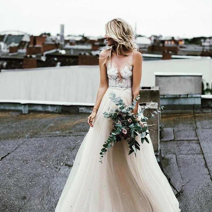 pretty sheer wedding dress #weddingdress #weddingdresses #bridalgown #weddinginspiration #bride