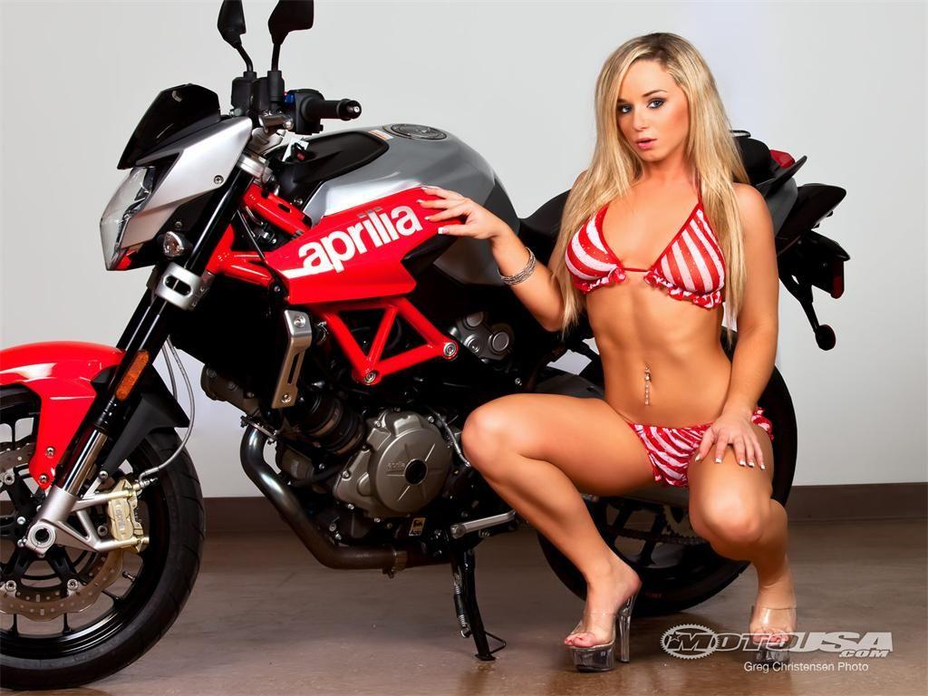Motorcycle models in bikinis
