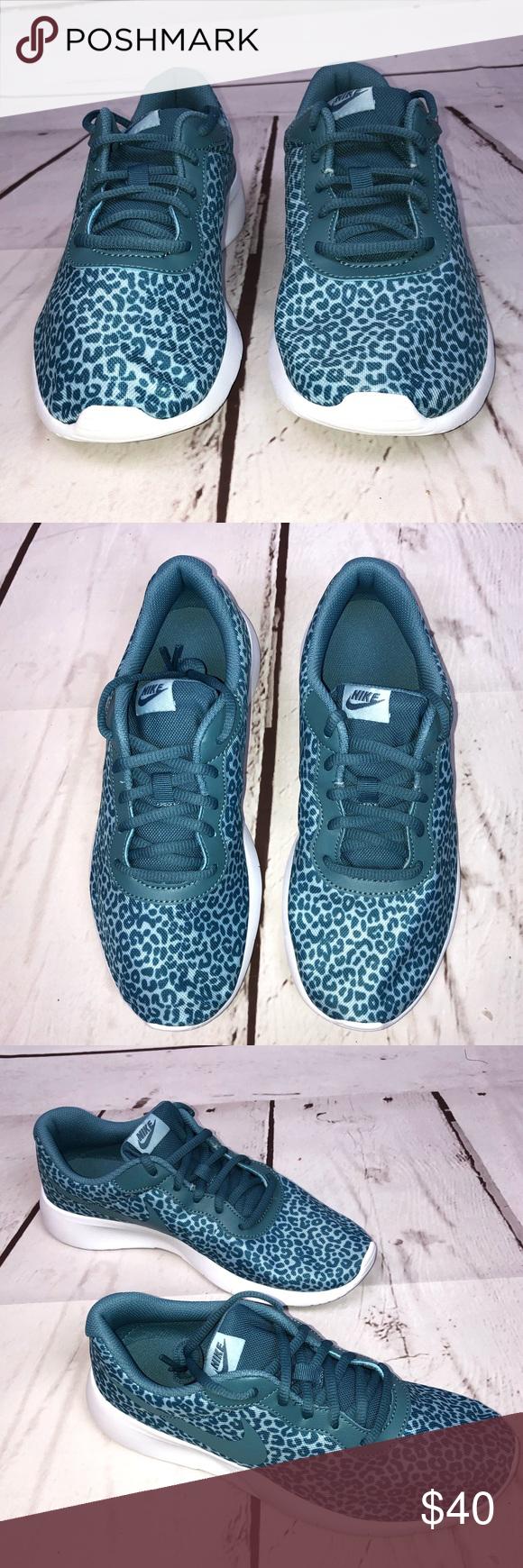 Nike Tanjun Blue Leopard Print Sneakers