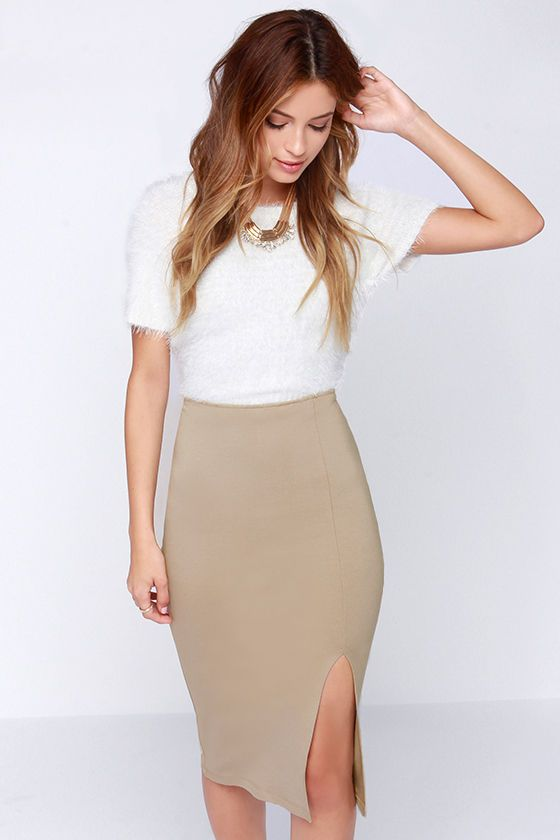 Keynote Speaker Beige Bodycon Midi Skirt at Lulus.com! | FASHION ...