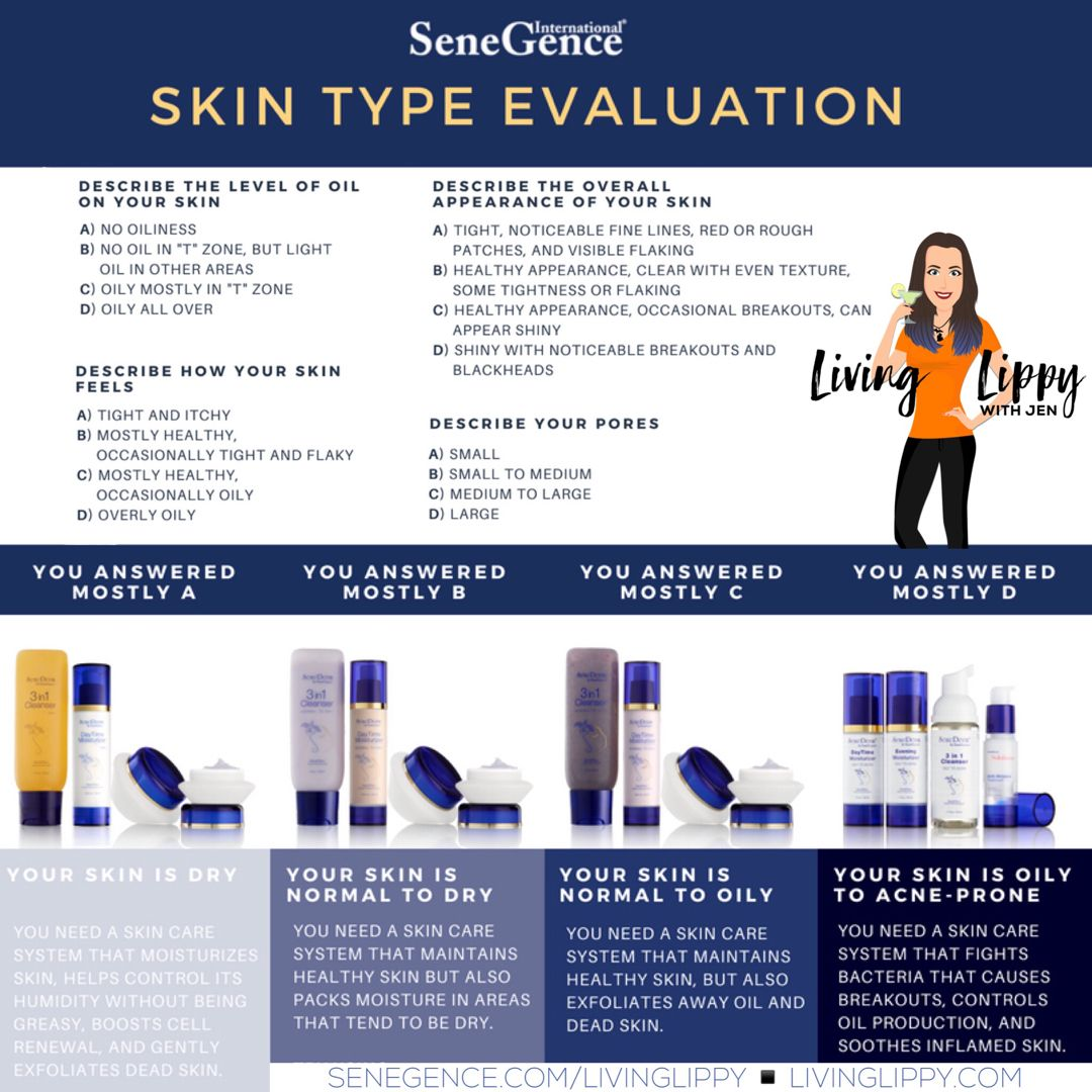 Senegence Skin Type Evaluation Quiz Skin Care System Skin Types Quiz Skin Types