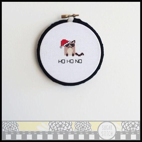 Grumpy Cat Santa Cross Stitch Pattern  by SugarStitchbyEllie - Perfect for Christmas !