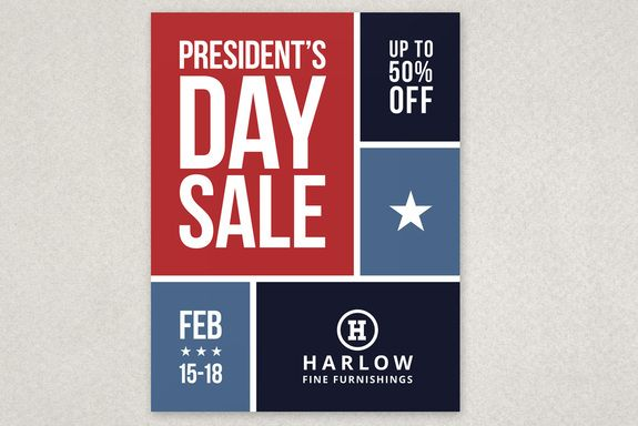 Red And Blue Color Block Presidents Day Sale Flyer Template From