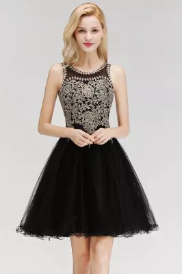 Cute Crew Neck Open Back Beaded Lace Appliques Homecoming Dresses #spitzeapplique