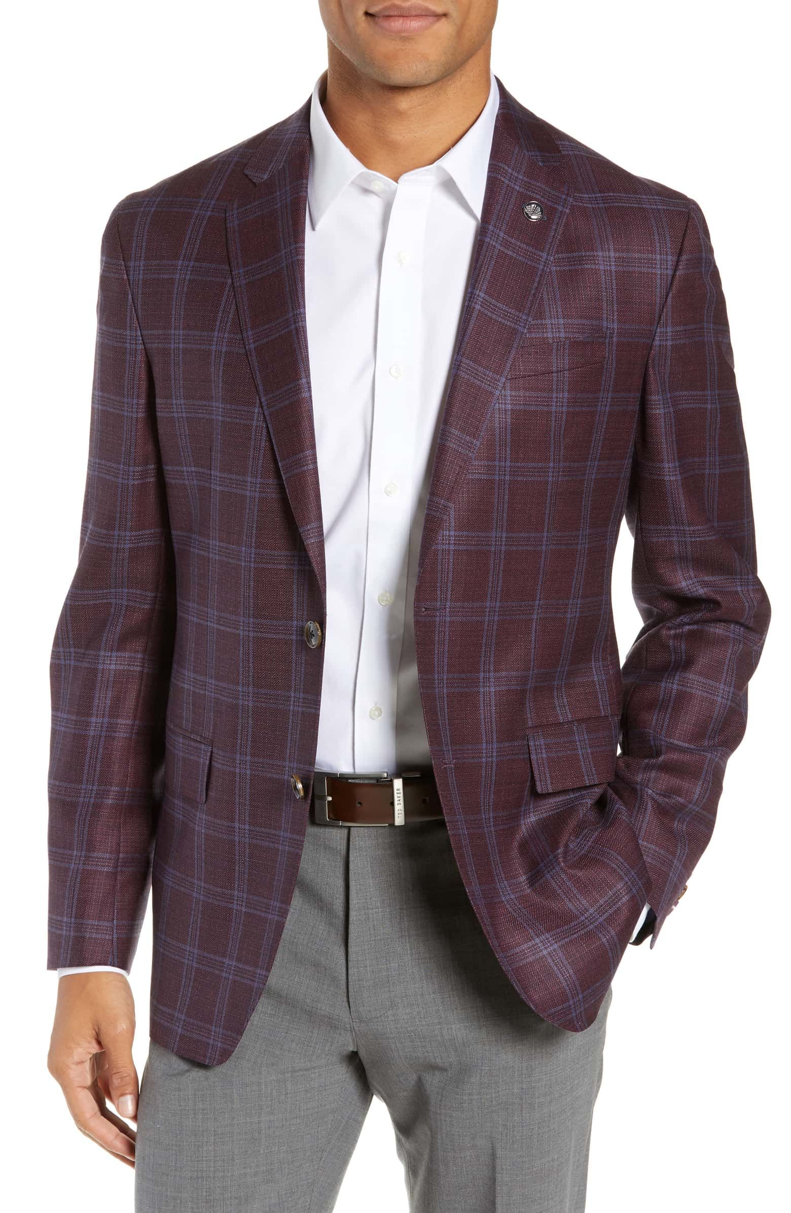 Ted Baker London Konan Trim Fit Plaid Wool Sport Coat