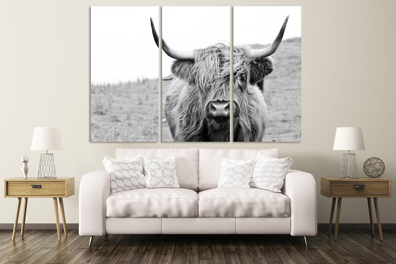 Cow Kitchen Decor Black And White Art Print Extra Large Canvas Wall Art Extralargewalldecor Extrala Cow Kitchen Decor Large Canvas Wall Art Animal Wall Decor