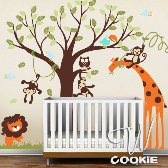 Wall Decal Safari Wall Decor Nursery Room Decor Kids Wall - Nursery wall decals jungle