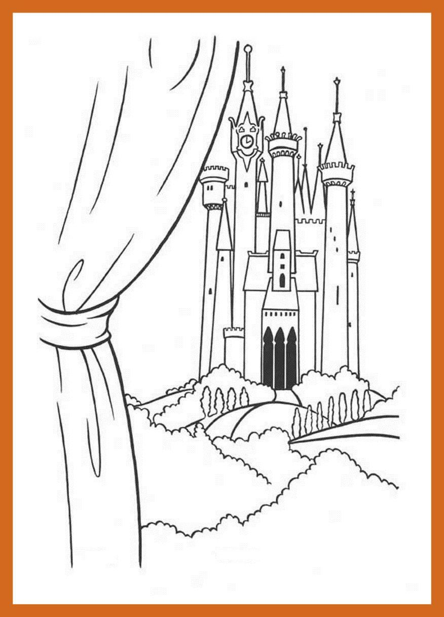Castle Coloring Pages Cinderella Castle Coloring Pages