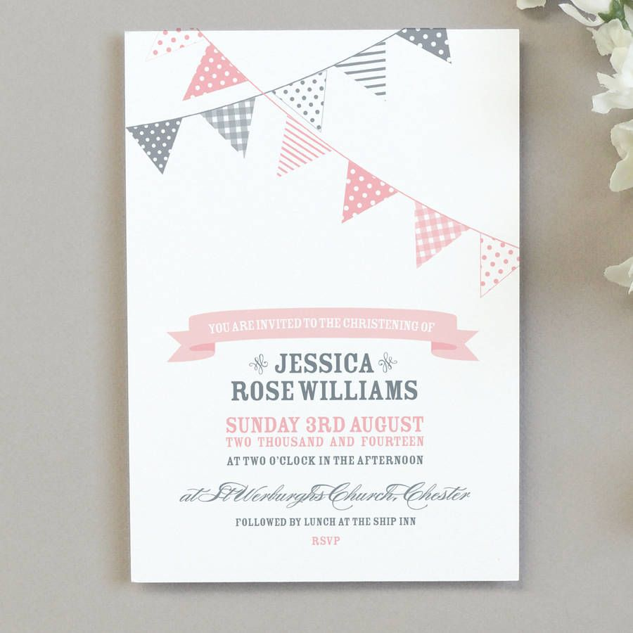 X Bunting Christening Invitations  Christening Invitations