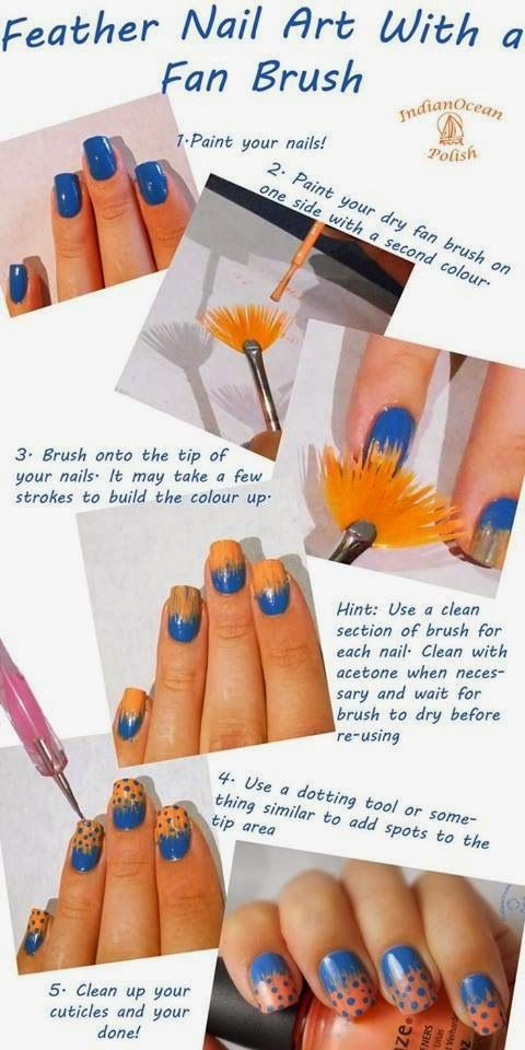 Feather Nail Art With A Fan Brush Nail Art Pinterest Feather