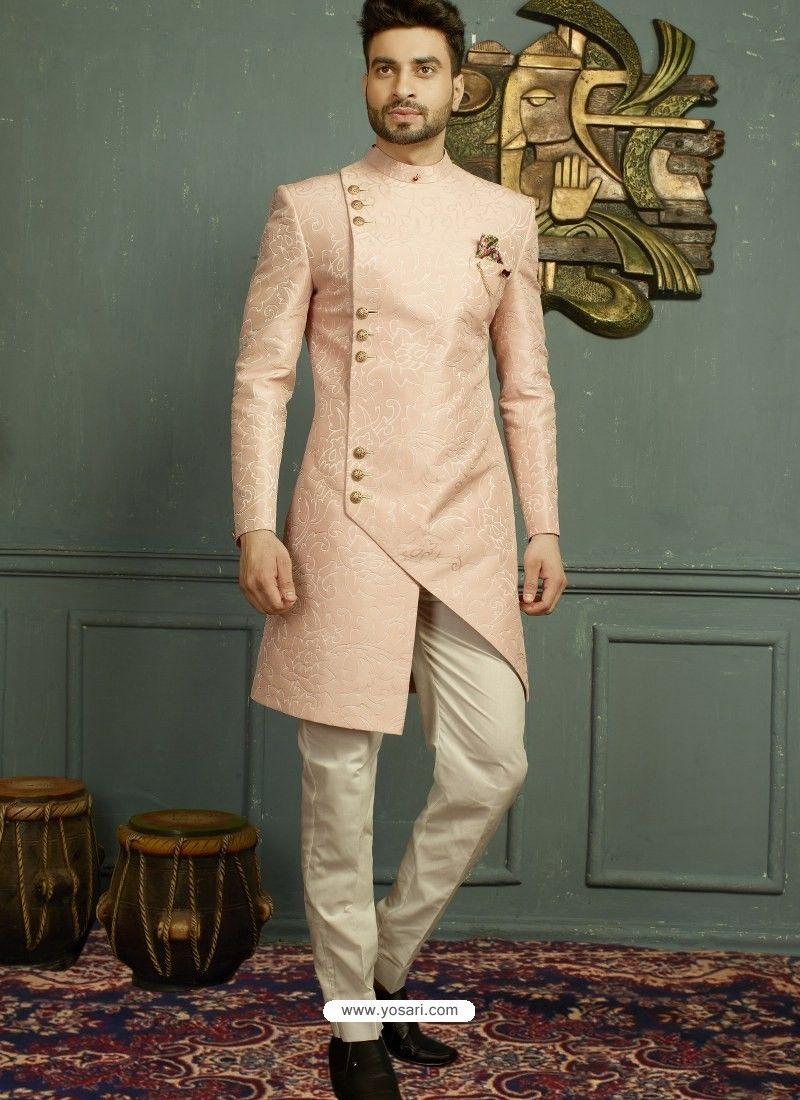 9853f8e9f0 Baby Pink Imported Jaquard Nawabi Style Designer Sherwani in 2019 ...