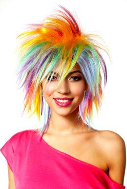 Glam Rainbow Wig Ladies 80s Rocker Fancy Dress Costume Accessory Pride Wig