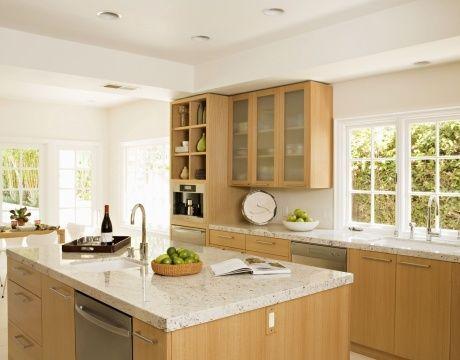 Maple Cabinets Kitchen Renovation, Natural Maple Cabinets With White Quartz Countertops