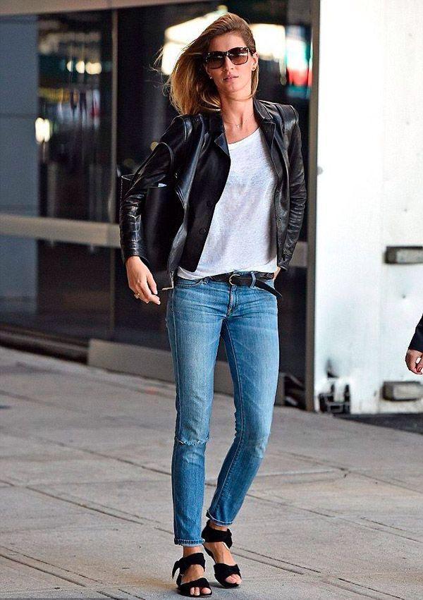 Resultado de imagem para jaquetas de couro com calça gisele