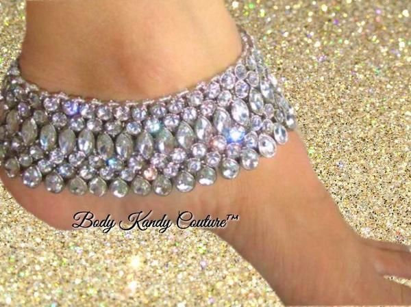 Silver Tone Indian Wedding Foot Jewelry with Kundan Stones Barefoot
