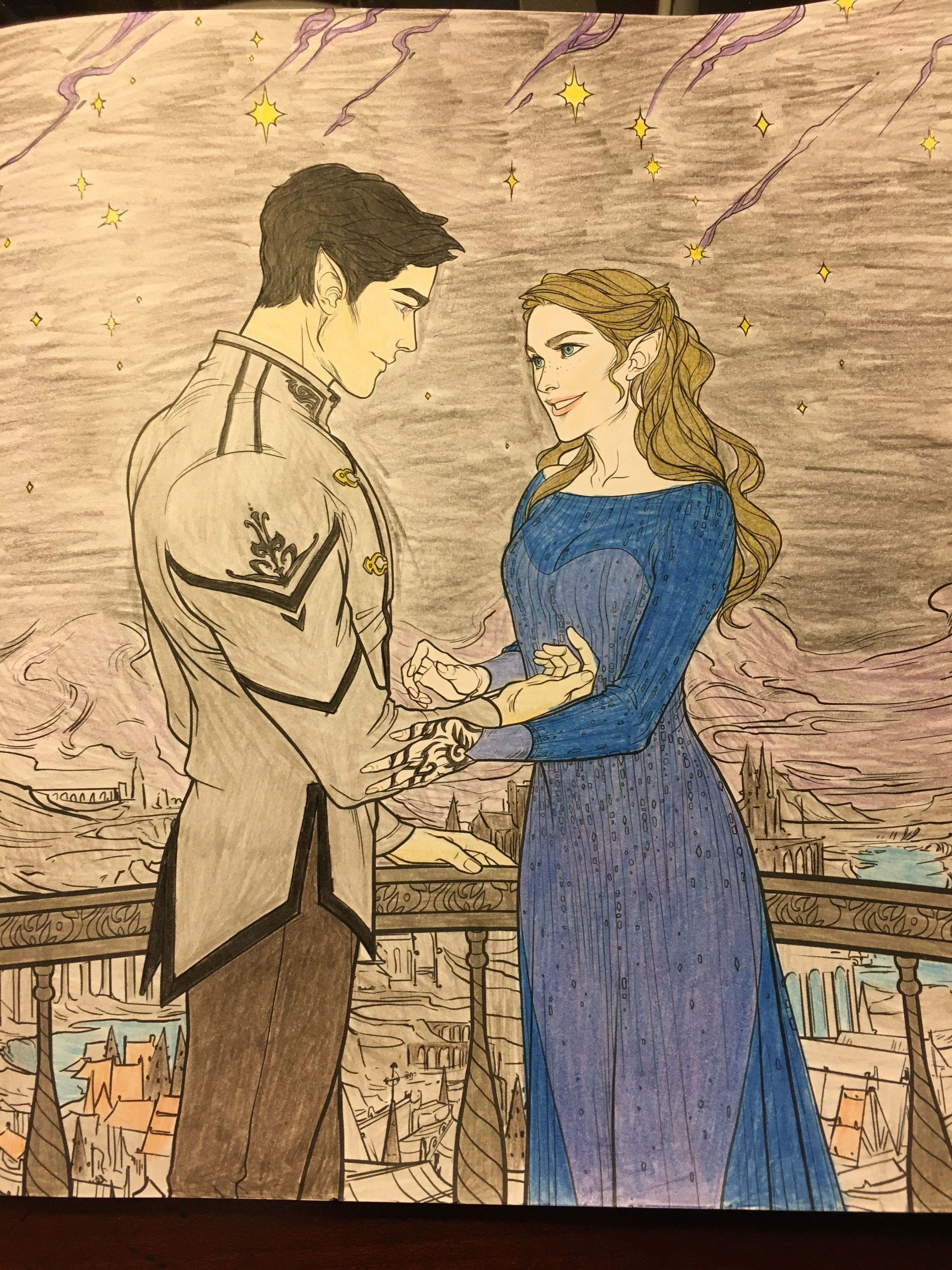 Feyre and Rhys on Starfall; colored by Lauren Moore | ACOTAR ...