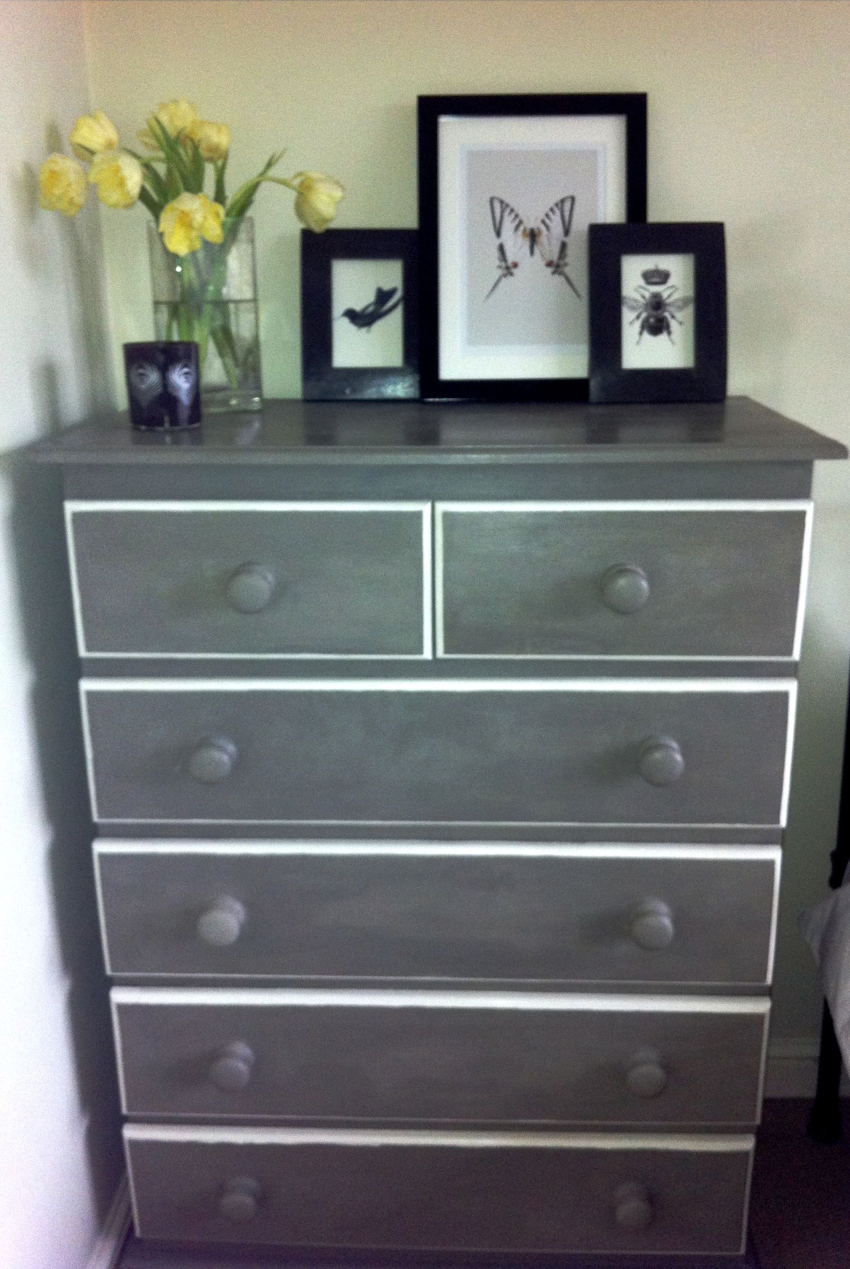 Old Pine Chest Of Drawers Painted In Annie Sloane U0027Paris Greyu0027 And U0027Old