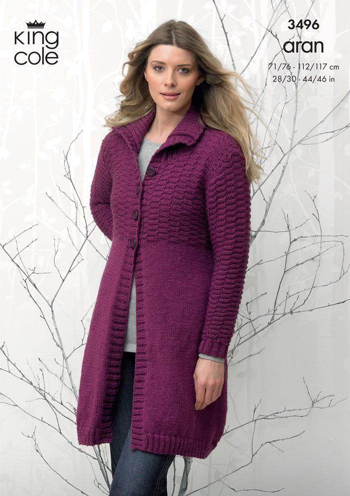 Coat and Hooded Cardigan in King Cole Aran - 3496   Ladies ...