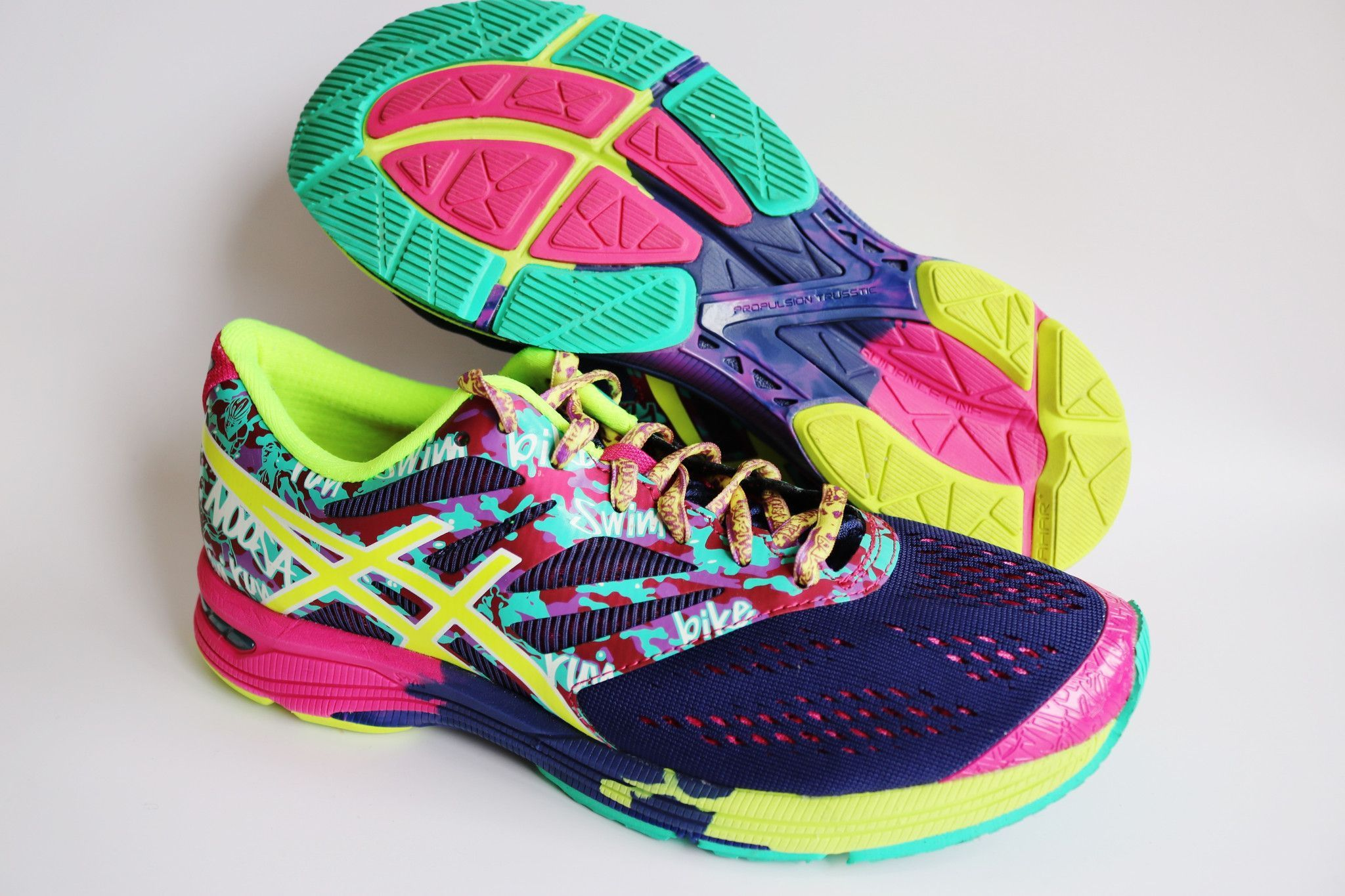 f8ce07505 Asics Womens T580N Gel-Noosa Tri 10 Navy Flash Yellow Hot Pink Athletic  Cross Training Running Shoes Size 8.5