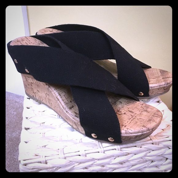 Jaclyn Smith black wedge sandal Black strapped Jaclyn Smith wedge sandals. Worn twice- no damage to shoe. Shoes Sandals
