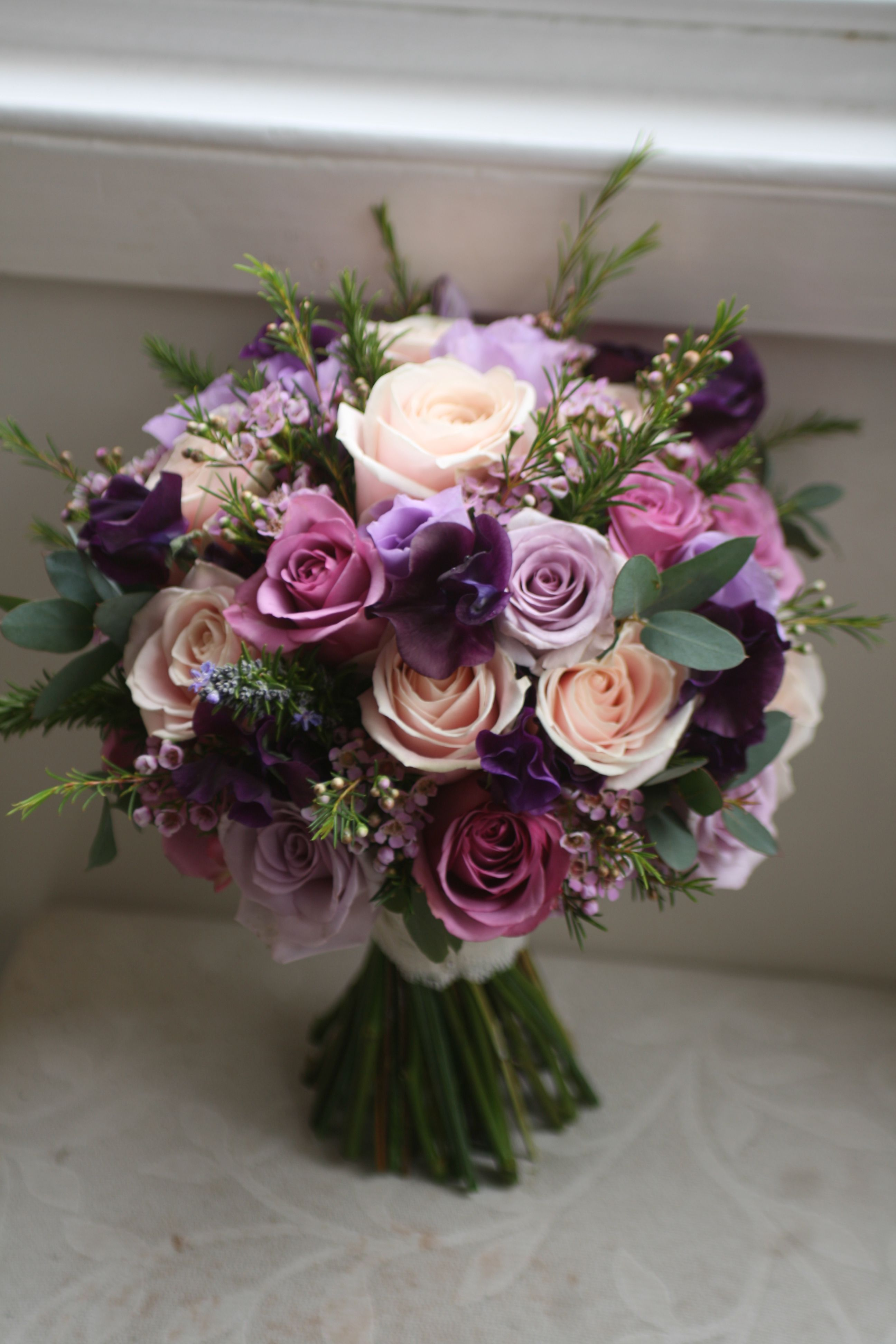 Wedding bouquet of sweet avalanche ocean song and cool water roses wedding bouquet of sweet avalanche ocean song and cool water roses waxflower eustoma and izmirmasajfo Gallery