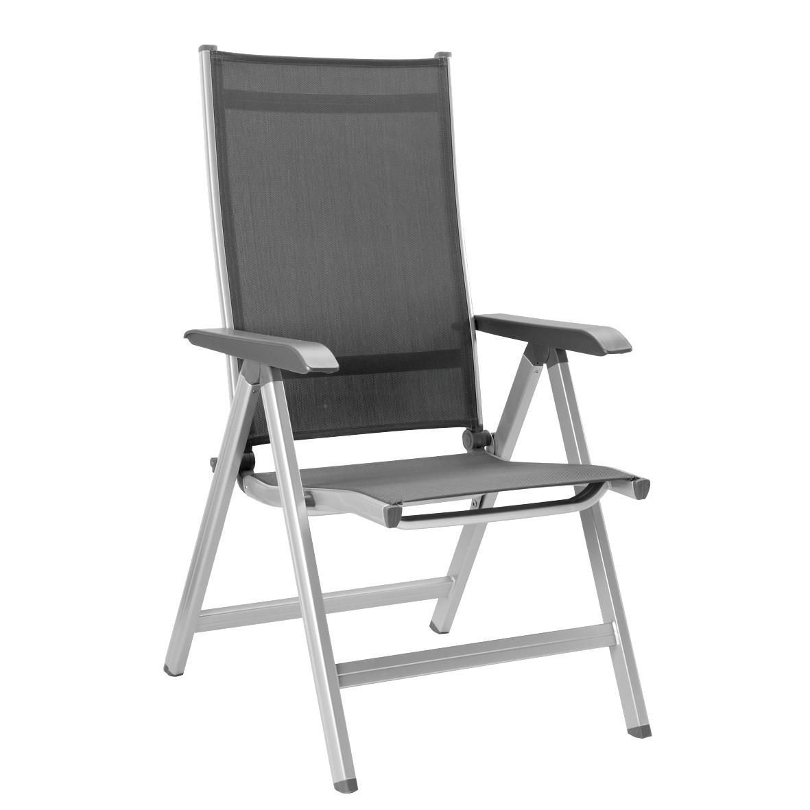Kettler Basic Plus Aluminum Patio Multi Position Dining Arm Chair Silver Frame Gray Sling Aluminum Arm B Garden Chairs Metal Aluminum Patio Garden Chairs