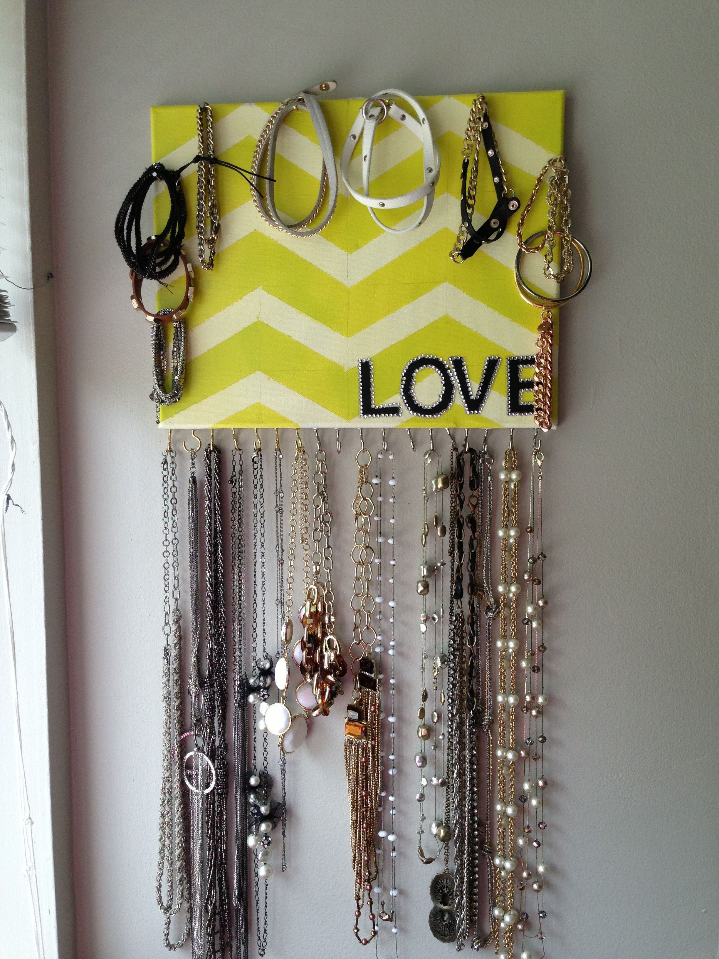 Diy Jewelry Holder Chevron Stripped Canvas With Hooks And Nails